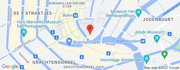 Map van Nieuwe Doelenstraat 1A Amsterdam in Nederland